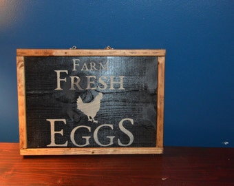 Wooden Farm Fresh Egg Sign With Trim