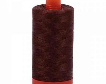 Aurifil Mako Cotton Thread Solid 50wt 1422yds Chocolate 1050-2360