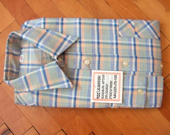 Vintage Men's Shirt, Cotton Shirt, Long sleeve shirt, Plaid shirt, New condition, Gift For Him, Height 176 cm, Man Dude