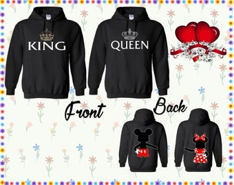 King Queen Hoodie Mickey & Minnie Back Sweater Couple Hoodie Couple Sweatshirt Couple Sweater Couple Hooded Sweatshirt Gift For Couple