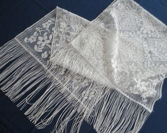 Vintage White Lace Floral and Long-Fringed Ladies Shawl Scarf Wrap
