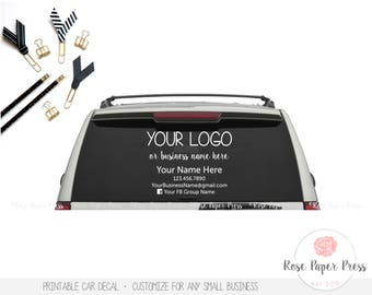 Car Decal | Custom Printable Decal | Small Business, Marketing, Window Decal, Car Sticker