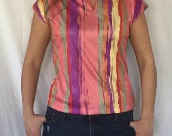 1960 cap sleeve tie closure top bold color top