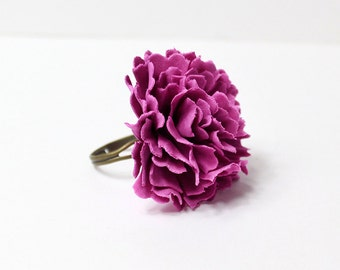 purple ring for women solitary ring gifts/for/girl purple jewelry gift/for/her purple flower ring summer ring gift/for/friend big ring A4
