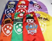Paw Patrol cape or mask, Paw Patrol Birthday, Paw Patrol Decorations, Paw Patrol Party, Paw Patrol Party Favors, Paw Patrol Tracker