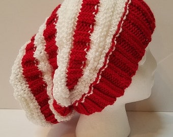 Red and White Slouchy Hat