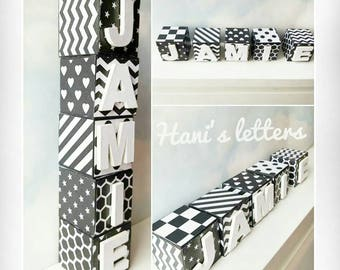 Monochrome baby blocks, black and white blocks personalised blocks, wooden blocks, name blocks, black & white baby nursery, unique gift*