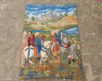 Vintage French Beautiful Medieval Style English Design Tapestry 0532