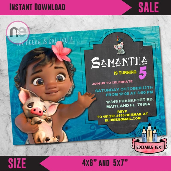 Moana Printable Birthday Party Invites Baby Invitations For Girls