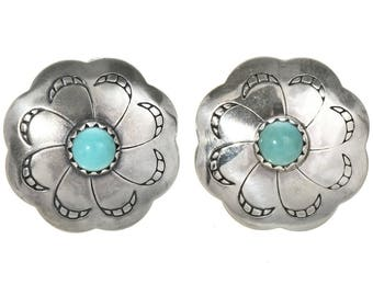 Navajo Silver Concho Turquoise Earrings Southwest Post Studs