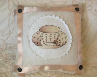 Appliqued SILK TEA CUP Ribbon Pillow,Cottage,Shell Pink,Teacup Decor,Antique Satin Ribbon, Damask Napkin,Stuffed Linens,Repurposed Linens