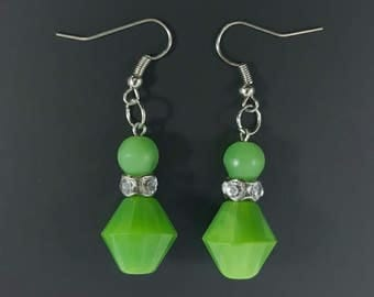 Handmade Jade Glass Bead Earrings