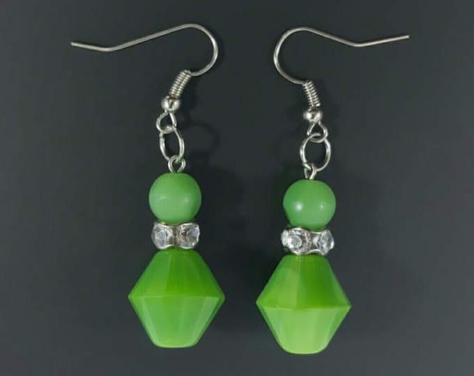 Handmade Jade Glass Bead Earrings