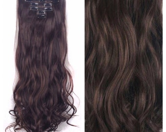 "Brown Hair Extensions - Medium Brown - Wavy/Curly 24"" Brown Clip In Hair Extensions Double Weft  Hair Weave PREMIUM QUALITY #109"