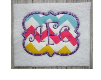 Rectangle Embroidery Design, Monogram Frame, Machine Embroidery, Applique, 7 Sizes, No Fonts Included