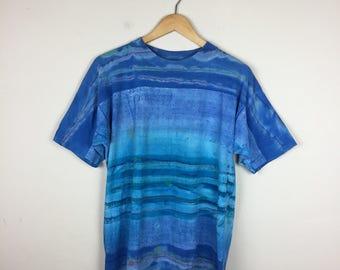 90s Tie Dye T Shirt Size Medium, Blue Tie Dye T Shirt