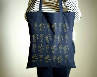 Bunny tote bag in navy blue! Origami rabbit and carrot eco shopping bag. Cute original bunny design. Gift for her.