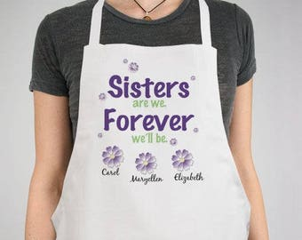 Personalized Sisters Forever Personalized Apron Custom Name Gift