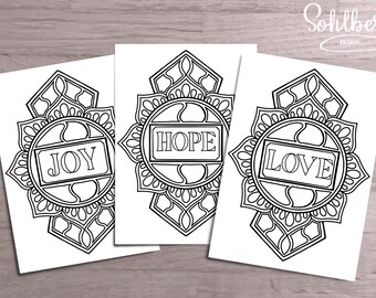 Coloring pages. Set of three. Joy Hope & Love.