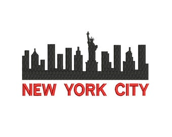 New York City Embroidery Design. Silhouette New York Embroidery. New York City. Machine Embroidery.  NY Embroidery Design.