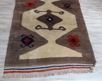 Turkish Vintage Shaggy Rug,Traditional Turkish Handwoven Rug 47x67 inches