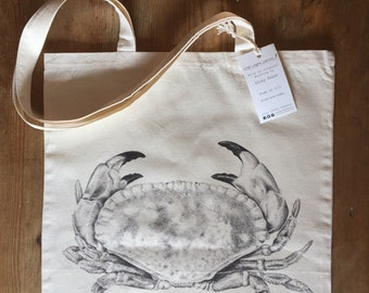 Crab 100% cotton tote bag
