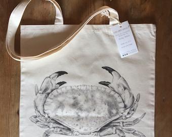 Crab 100% cotton tote bag