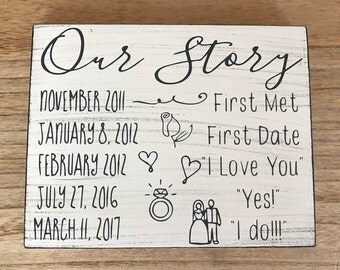 Our story sign, our story, wedding signs, wedding signs wood, wedding signage, wedding gift, custom signs, custom wedding signs, wood signs