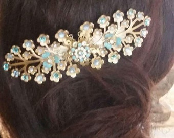 Ornamental Brass Wedding Hair Barrette