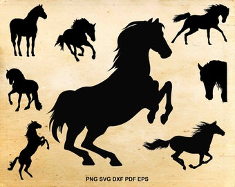 Horse svg files, Horse clipart, Equestrian svg, Cut files for Silhouette, Files for Cricut, Horse silhouette, dxf pdf png eps svg
