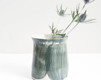 grey-green brushed vase, medium, pot, planter, handmade, wheel thrown, ceramic, pottery, glazed