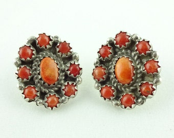 Vintage Zuni Native American Sterling Silver and Coral Earrings