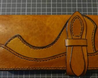 Handmade bikers wallet full grain vegetable tanned turkish leather long wallet unisex wallet