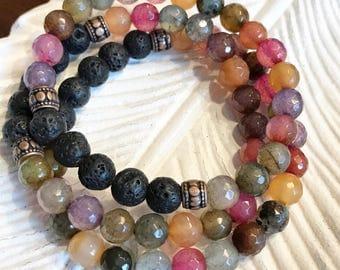 Mermaid, Stackable Mala Inspired Essential Oil Diffuser Bracelet, Lava Bracelet / Healing + Harmony Bracelet