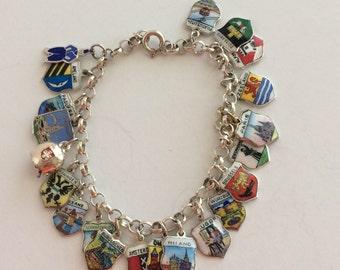 "Sterling travel shield charm  bracelet 7"""