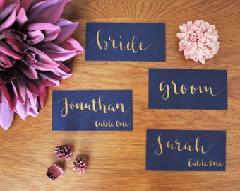 Hand lettered calligraphy place cards