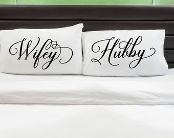 His Her Pillowcases, Couple Pillowcases, His and Hers Pillowcases, 2nd Anniversary Gift, Hubby Pillow, Wifey Pillow, Couples Pillow