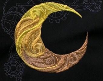 Sale price! Steampunk moon - embroidered shirt - mech - mechanical - clockwork - gears - steam punk - gold - crescent moon