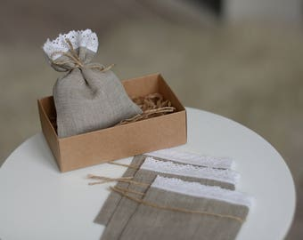 20pcs Natural Linen favor bags, Wedding favor bags, Linen lace wedding favor gift bags Baby shower bags Christmas Gift bags Small linen bags
