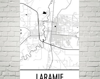 Laramie Map, Laramie Art, Laramie Print, Laramie WY Poster, Laramie Wall Art, Laramie Gift, Map of Laramie, Laramie Decor, Laramie Map Art