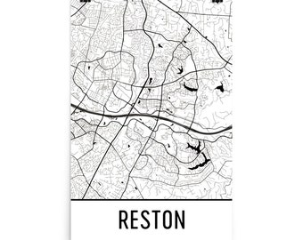 Reston Map, Reston VA Art, Reston Print, Reston Virginia Art Poster, Reston Wall Art, Map of Reston VA, Reston Gift, Reston Decor, Map Art