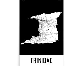 Trinidad Map, Trinidad Art, Trinidad Print, Trinidad Poster, Trinidad Wall Art, Map of Trinidad, Trinidad Gift, Trinidad Decor, Map Print