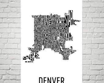 Denver Typography Neighborhood Map Art City Print, Denver Wall Art, Denver Art Poster, Gift, Map of Denver, Denver CO, Denver Colorado