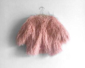 Pink Faux Mongolian Fur Jacket