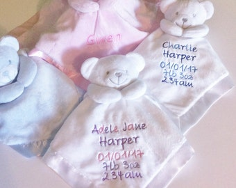 Personalised Baby Comforters, Embroidered Baby Comforter, Teddy Baby Comforter