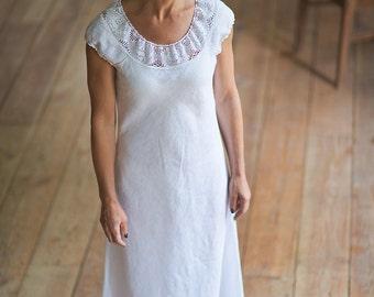 Linen dress for women Maxi dress White dress Summer dress Natural linen dress with lace Long summer dress Short sleeve dress