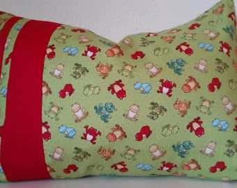 Tree frog, pillow cover, green, red stripe, red and green, frog pattern, baby boy, nursery ideas, 12X16 pillow cover