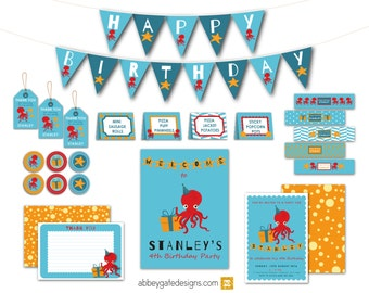 Octopus Birthday Kit, Personalised Under the Sea Party Bundle, Printable Octopus Party, Octopus Birthday Pack, Octopus Party Decoration