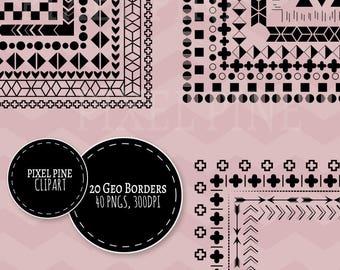 Geometric Borders, Minimalist Black frames, minimalist borders, 40 PNGs, Commercial Use, Scrapbooking borders, 20 Black white clipart frames
