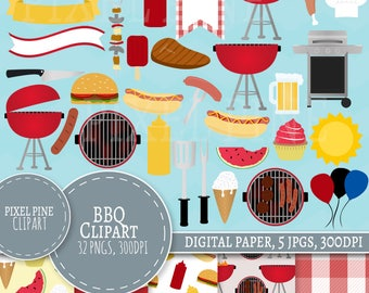 BBQ Clipart Set, Summer Barbecue Clip art, 32 PNGs, 5 BBQ Digital Paper JPGs, Commercial Use, backyard bbq clipart, bbq cookout clip art set